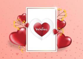 sfondo di San Valentino con casella di testo e bellissimi palloncini cuori. biglietto di auguri, invito o modello di banner vettore