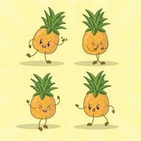 raccolta di set di espressioni carino ananas. personaggio mascotte di ananas