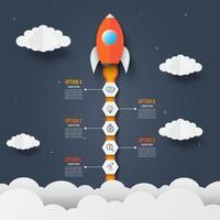 modello di infografica del razzo attraverso le nuvole. concetto di business startup di successo. utilizzato per il web design e il layout del flusso di lavoro. vettore