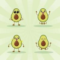 raccolta di set di espressioni carino avocado. personaggio mascotte di avocado