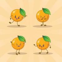raccolta di set di espressioni carino arancione. personaggio mascotte arancione