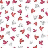 Fondo senza cuciture del modello di giorno di San Valentino con il bollo del cuore sveglio di scintillio