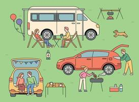 persone che amano il campeggio automatico. all'aperto, le persone si accampano in furgoni e automobili. vettore