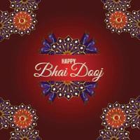 happy bhai dooj festival celebrazione card con puja thali vettore