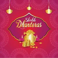 shubh dhanteras celebrazione biglietto di auguri vettore