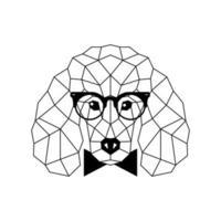 barboncino poligonale in occhiali alla moda e farfallino. icona del cane geometrico. vettore