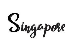 calligrafia con scritte a mano di singapore. calligrafia pennello disegnato a mano. città lettering design. vettore