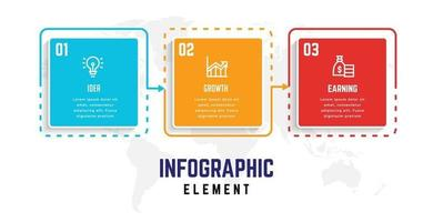 modello di elemento di business infografica, modello di processo passo vettore