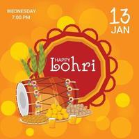 illustrazione vettoriale di uno sfondo per il modello di vacanza lohri felice per il festival punjabi.