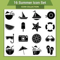 set di icone di vacanze estive vettore