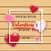 sfondo di vendita di San Valentino con palloncini cuore su fondo in legno. carta da parati, volantini, inviti, poster, brochure, banner. vettore