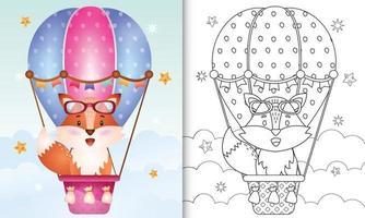libro da colorare per bambini con una volpe carina in mongolfiera vettore