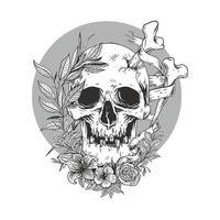 schizzo della linea del cranio con fiore vettore premium