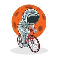 astronauta in bicicletta con sfondo di luna. vettore Premium