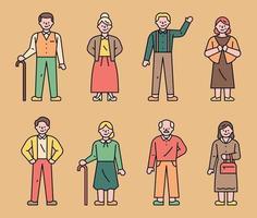 vecchio personaggio. semplici personaggi di mezza età e vecchi sono in piedi. vettore