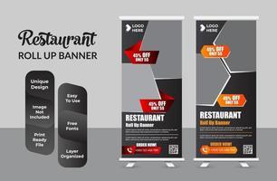 cibo e ristorante roll up banner design template set vettore