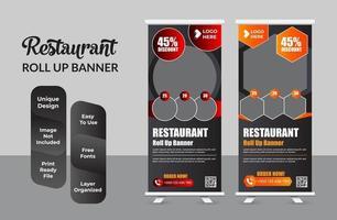 ristorante business roll up banner template design set vettore