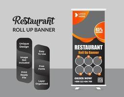 cibo e ristorante roll up banner modello di progettazione vettore