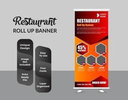 ristorante fast food roll up modello di banner vettore
