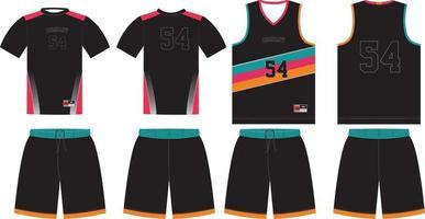mock up di design personalizzato uniforme da basket vettore