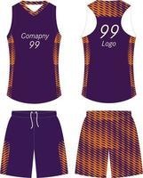 set uniforme di design t-shirt da basket vettore