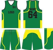 maglietta uniforme da basket e pantaloncini mock up vettore