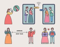 persone in costumi tradizionali coreani salutano. a causa della pandemia dell'epidemia, effettuano videochiamate e si tengono a distanza.