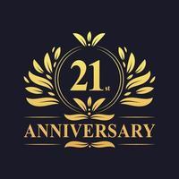 Design del 21 ° anniversario, logo dell'anniversario di 21 anni di colore dorato di lusso vettore