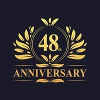 Design del 48 ° anniversario, lussuoso logo dell'anniversario di 48 anni di colore dorato. vettore