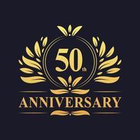 Design del 50 ° anniversario, lussuoso logo dell'anniversario dei 50 anni di colore dorato. vettore