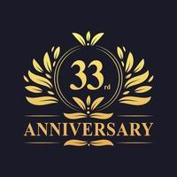 Design del 33 ° anniversario, logo dell'anniversario di 33 anni di lussuoso colore dorato. vettore