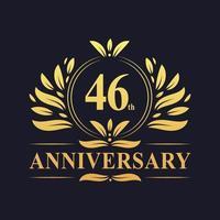Design 46 ° anniversario, lussuoso logo dell'anniversario di 46 anni di colore dorato. vettore