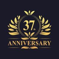 Design del 37 ° anniversario, lussuoso colore dorato 37 ° anniversario. vettore