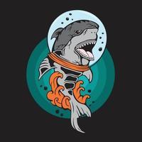 illustrazione vettoriale, illustrazione di squalo con onda per la stampa di t-shirt. squalo mascotte vettore