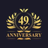 Design del 49 ° anniversario, lussuoso logo dell'anniversario di 49 anni di colore dorato. vettore