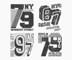 set di timbro t-shirt vintage di brooklyn new york. design di stampa t-shirt. stampa e badge, applique, magliette con etichette, jeans o abbigliamento casual. illustrazione vettoriale