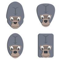 set di gorilla dei cartoni animati. vettore