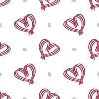 modello di San Valentino senza soluzione di continuità su sfondo bianco con cuore e elemento glitter vettore