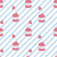 Fondo senza cuciture del modello di giorno di San Valentino con la pianta rosa del cuore di tiraggio della mano in una bottiglia vettore