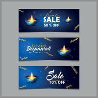 felice banner design diwali vettore