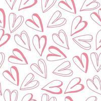 Fondo senza cuciture del modello di giorno di San Valentino con cuore rosa di tiraggio della mano vettore