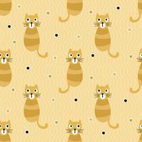 Fondo senza cuciture del modello dei bambini con il gatto arancio a strisce di tiraggio della mano vettore