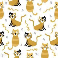 Fondo senza cuciture del modello dei bambini con il gatto arancio di tiraggio della mano vettore