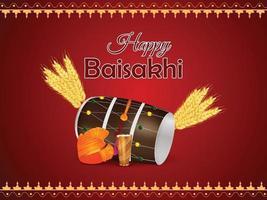 felice celebrazione del festival punjabi vaisakhi vettore