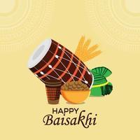 llustration della cartolina d'auguri di celebrazione di baisakhi festival punjabi vettore