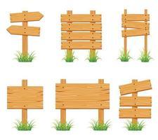 raccolta di set di cartelli in legno vettore
