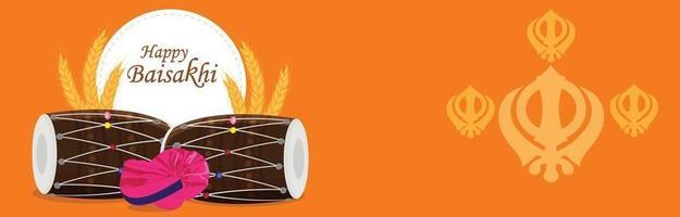 celebrazione felice vaisakhi design piatto con banner a tamburo vettore