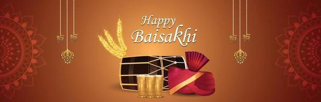banner di celebrazione del festival punjabi vaisakhi felice vettore