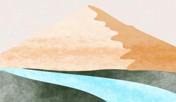 sfondo di arti astratte dipinto a mano minimalista creativo. sfondo del paesaggio naturale con stile giapponese. vettore