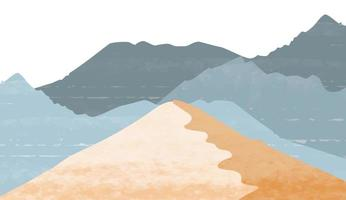 sfondo di arti astratte dipinto a mano minimalista creativo. sfondo del paesaggio naturale con stile giapponese. modello di foresta di montagna con pittura ad acquerello vettore